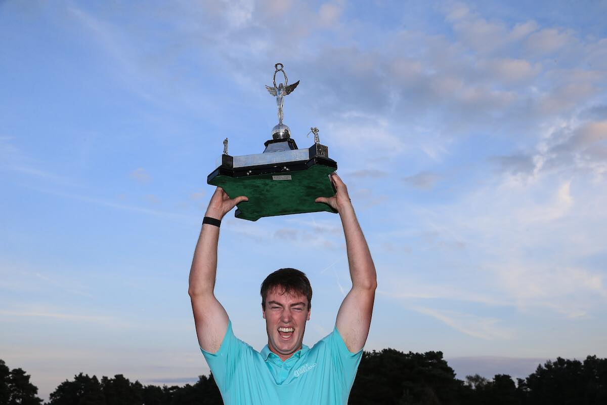 Jack McDonnell holds the trophy aloft following Ireland's win in the Men's Home Internationals (© Golffile | David Lloyd)